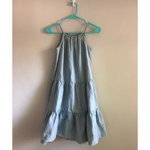 Hanna Andersson Girls Tiered Chambray Dress 14/16
